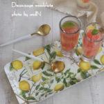 レモン柄ペーパナプキンを使って木製トレーにデコパージュ